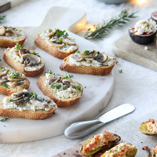 Lemony Mushroom Crostini with Shallot & Chive Boursin.