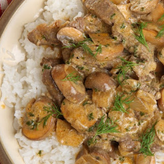 Beef Stroganoff With Dill And Sour Cream.