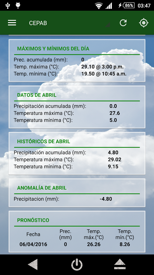 AppClima- screenshot