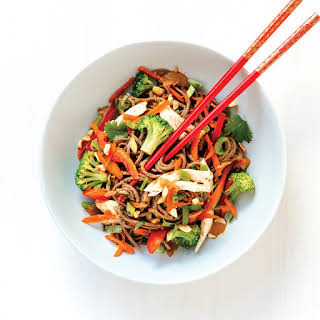 Peanut Noodles with Chicken and Veggies.