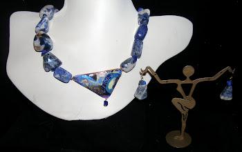 Photo: <BEREHYNYA> {Great Goddess Protectress} unique one-of-a-kind statement jewellery by Luba Bilash ART & ADORNMENT  #102 - THE UNKNOWN ~ НЕЗНАНЕ - copper enamel pendant; lapis lazuli; ceramic; rose gold vermeil $120/set SOLD