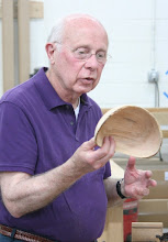 Photo: Bill Long with a natural-edge bowl...