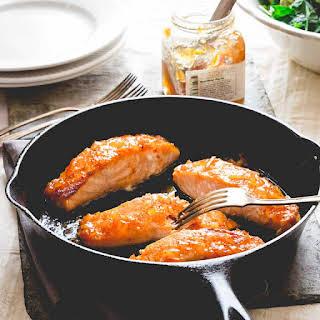Simple Sriracha Marmalade Glazed Salmon.