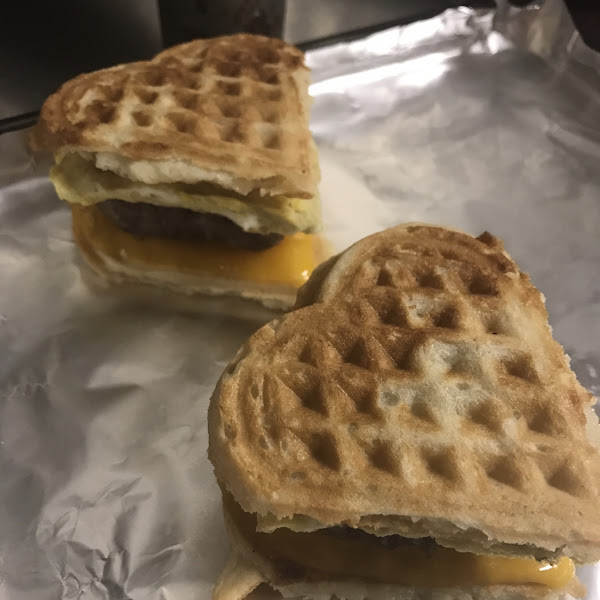 Waffle breakfast sandwich (sausage, egg and cheese on waffle)
