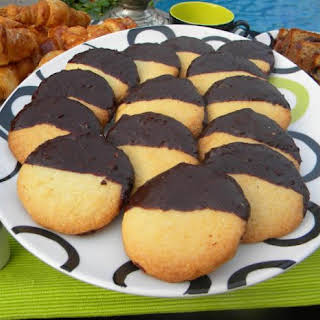 Almond Cookies Dipped in Chocolate.