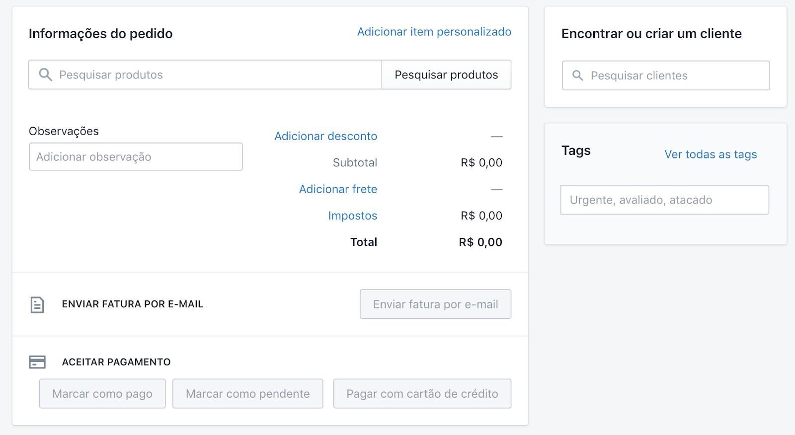 Tela de criação da ordem de pedido no Admin da Shopify.