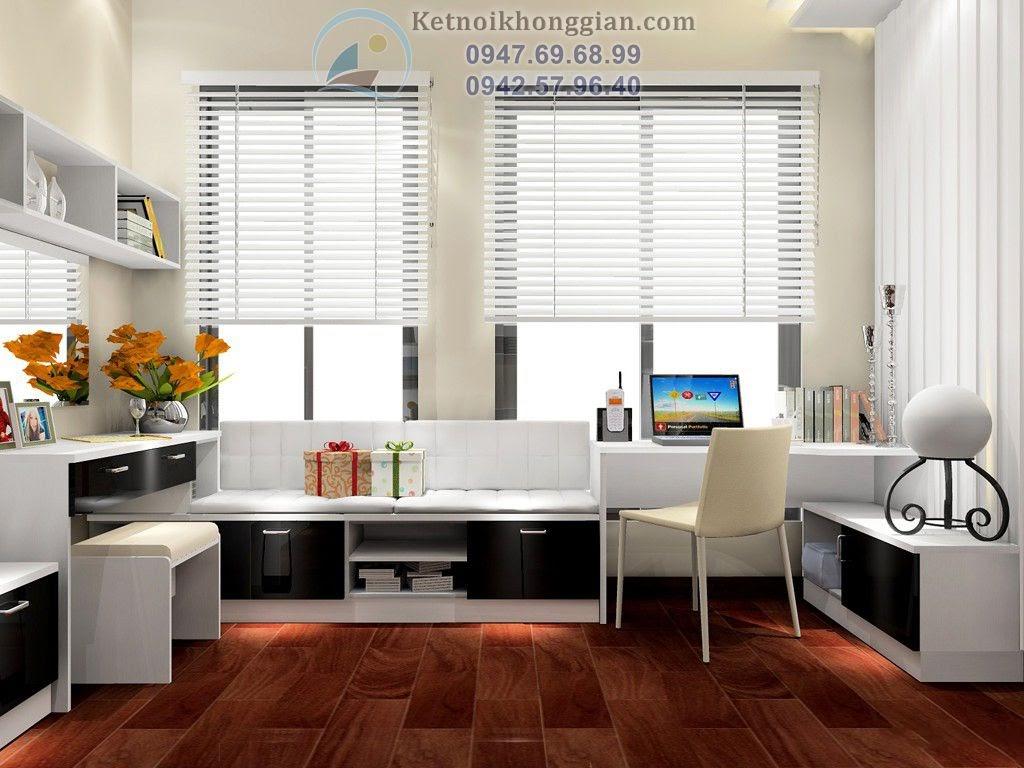 thiết kế phòng ngủ kết hợp phòng đọc sách trang nhã