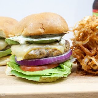 Poblano Lime Chicken Burgers with Roasted Garlic Mayo.