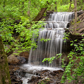 Waterfall at River Bend Nature Center by Devyn Drufke - Landscapes Waterscapes ( waterfall )