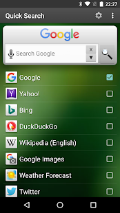 Quick Search Widget - náhled