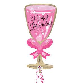 Folieballong, happy birthday glas