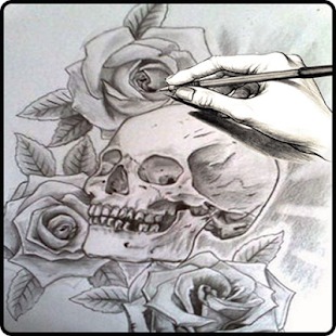 learn to draw skull - náhled