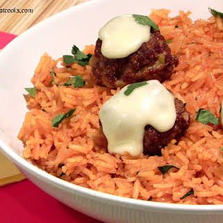 Mexican Meatballs and Rice with Nacho Cheese Sauce.