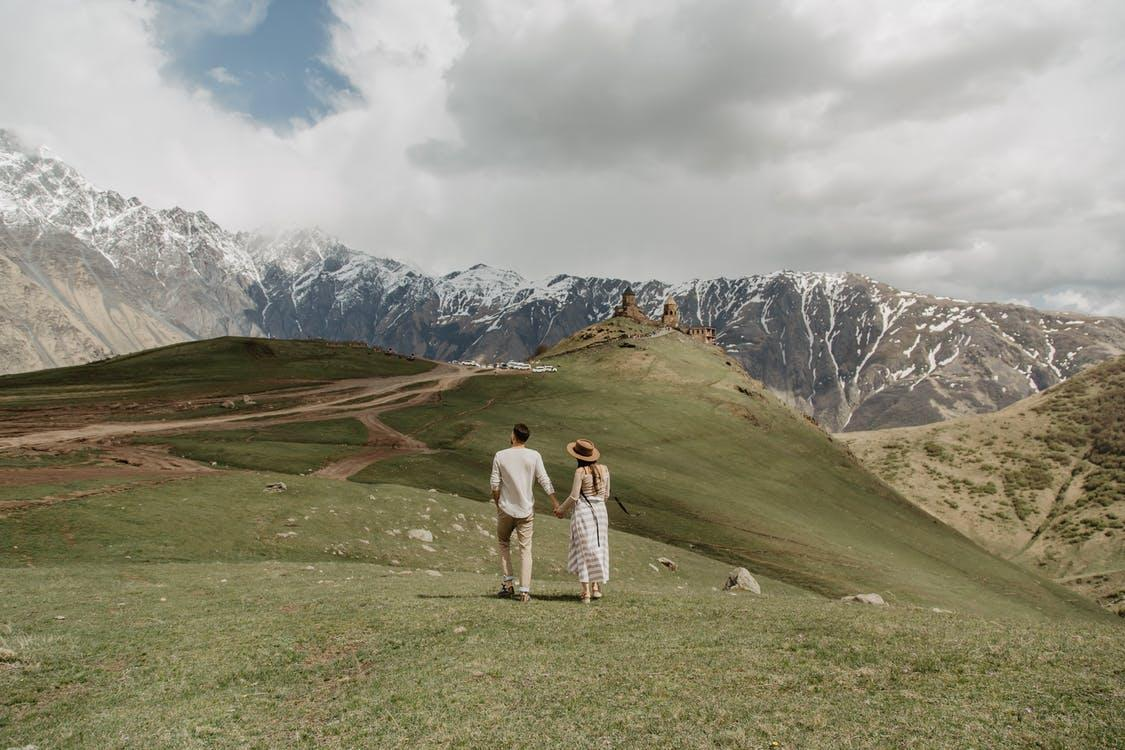 Free stock photo of church, couple in love, mountain top