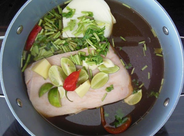 Score pork belly.  Place pork belly and ingredients 2-12 in a stock pot....