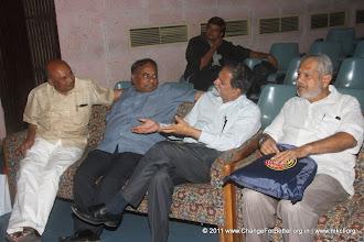 """Photo: Adv. Deepak Patil, Shri. Ulhas Gaoli, Shri. Anil Shinde and Shri. Sudhir Rao. Change for Better Release Function November 13, 2011. Shri. Suresh Prabhu, former Union Minister released """"Change for Better"""" at HMCT Auditorium, Pune"""