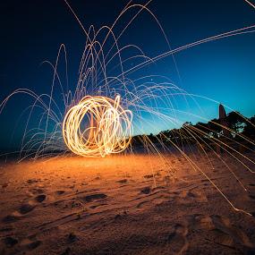 Self Destruction by John Smith - Abstract Fire & Fireworks ( poi, sand, orange, 365, steel wool, blue, florida, streaks, long exposure, beach, sparks, fire )