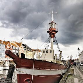 Old boat by Debra Graham - Transportation Boats ( copenhagen, red boat, old boat, boat, ship in dock )