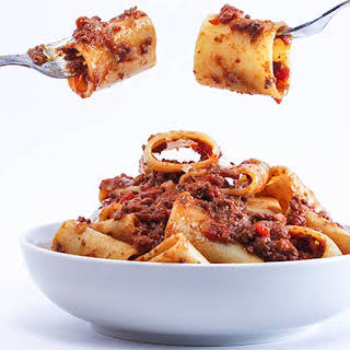 Rachael's Meat Lovers' Sauce with Paccheri or Rigatoni.
