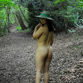 How to Wear a Hat by DJ Cockburn - Nudes & Boudoir Artistic Nude ( outdoor, chinese, standing, forest, woman, art nude, woodland, natural light, asian, model, cece, hat )
