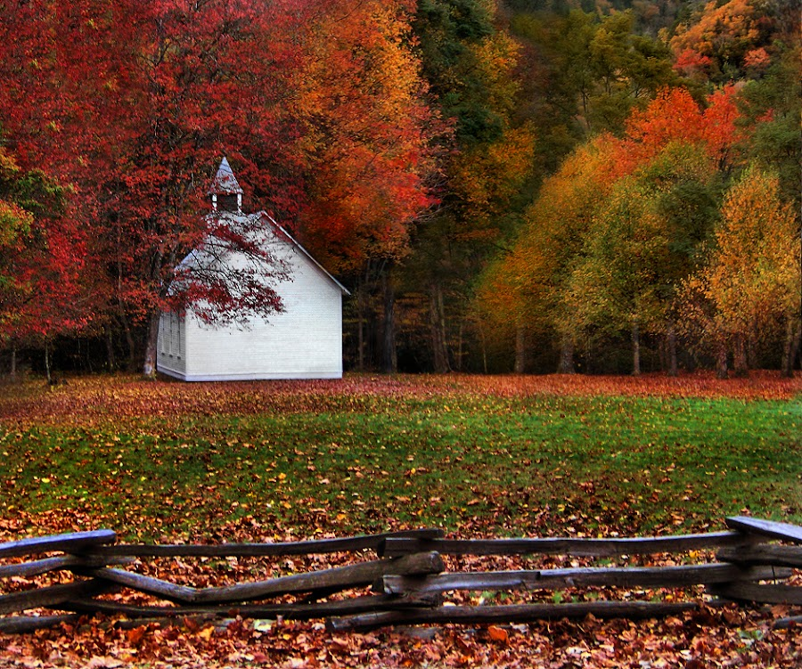 Cataloochie Church by Marylee Pope - Landscapes Travel