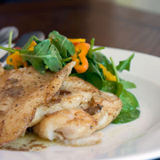 Dover Sole with Spinach and Arugula Salad.