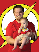Photo: Brad - Trading Card Nerd - Forces Sam to wear matching Superhero onesies