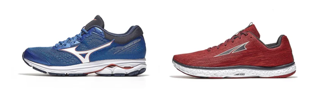 High drop (offset) and low drop running shoes.