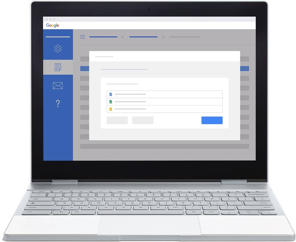 A screen on a Chromebook demonstrates how to use Course Kit to upload Google Drive documents to a learning management system.