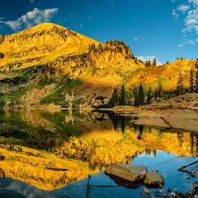 Cecret Lake  by Brandon Montrone - Landscapes Mountains & Hills ( mountain, mirror, sunrise, canyon, forest, reflection, reflections, scenic, lake, trees )