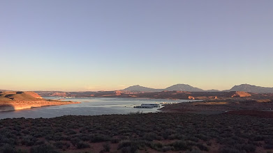 Photo: Dawn at Hall's Crossing, Lake Powell - Henry Mts. background.