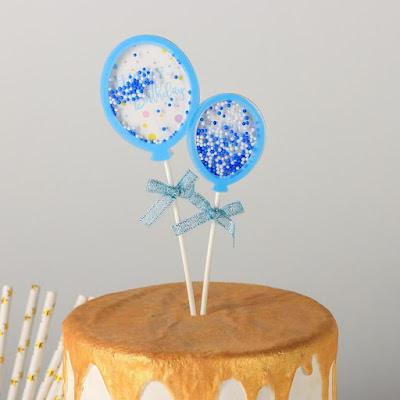 Набор топперов «Шары», 2 шт, 18,5×8 см, цвет голубой