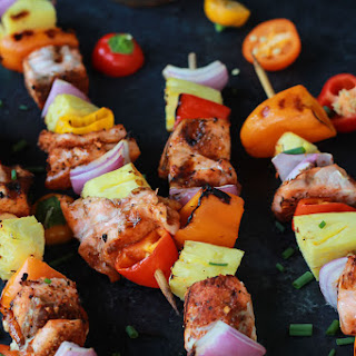 Caribbean Grilled Salmon Kabobs.