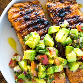 Grilled Salmon with Avocado Salsa (Healthy, Low-Carb, Paleo, Whole30).