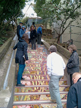 Photo: San Francisco Department of Public Works (DPW) Street Parks Program stewards pay a site visit to  the Hidden Garden Steps (16th Avenue, between Kirkham and Lawton streets in San Francisco's Inner Sunset District) and meet with Steps project volunteers on February 15, 2014 as part of a workshop sponsored by DPW and the San Francisco Parks Alliance; the Steps were one of four DPW Street Parks projects included on the tour.   For more information about the Steps, please visit our website (http://hiddengardensteps.org), view links about the project from our Scoopit! site (http://www.scoop.it/t/hidden-garden-steps), or follow our social media presence on Twitter (https://twitter.com/GardenSteps), Facebook (https://www.facebook.com/pages/Hidden-Garden-Steps/288064457924739) and many others.