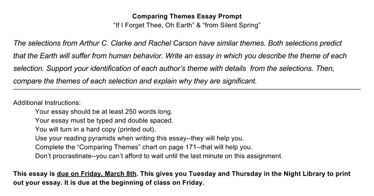 comparing themes essay prompt if i forget thee oh earth from comparing themes essay prompt if i forget thee oh earth from silent spring google docs