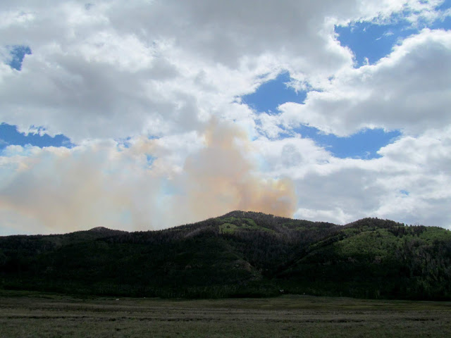 East Mountain and smoke from the Trail Mountain Fire