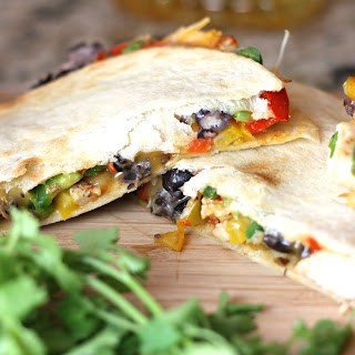 Baked Chicken and Black Bean Quesadillas with Cilantro Lime Crema Recipe