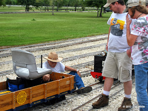 Photo: George Leventon putting his coupler back on his narrow gauge gondola.  A drawbar was used by Brent Courtney on his Sweet Creek and still shows up.    HALS Public Run Day 2013-0921 RPW