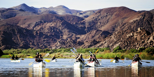 Canoeing through the Richtersveld on the Orange River.