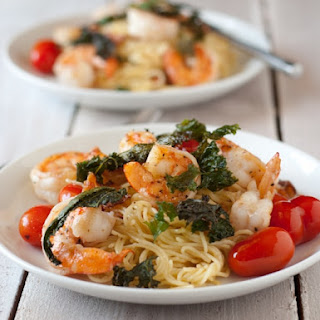 Shrimp and Bacon Pasta with Crispy Kale.