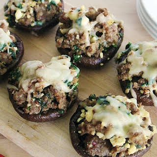Sausage, Feta & Spinach Stuffed Baby Portobello Mushrooms.