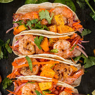 Habanero Shrimp Tacos With Mango Slaw.