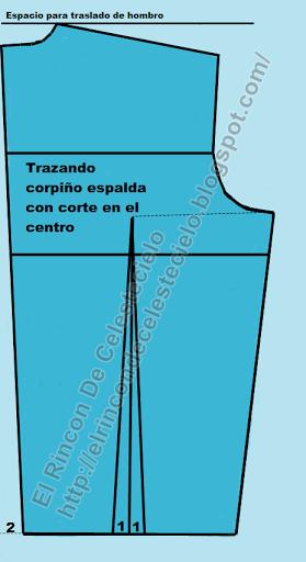 Espalda de corpiño con corte en el centro con pinza vertical