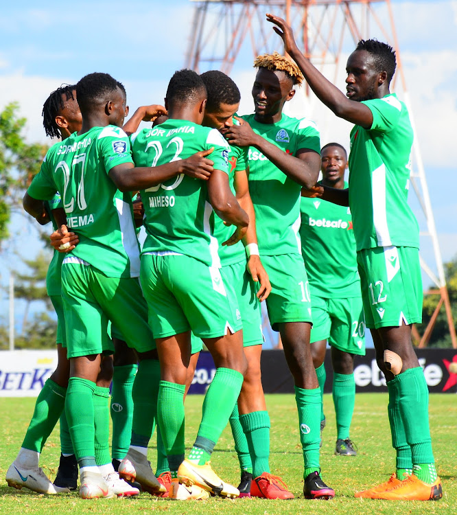 Gor Mahia players celebrate during a past match at Moi Stadium, Kasarani