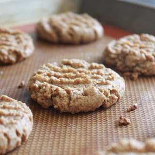 Sea salt topped oat peanut butter cookies. GF. Vegan.