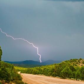 Summer Storm by Brent Flamm - Landscapes Weather ( clouds, lightning, mountain, desert, utah, action, weather, forest, storm, landscape, light, rural )