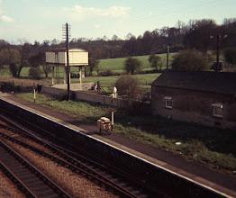 Photo: Chickens waiting on the down platform at Charlbury (1969)