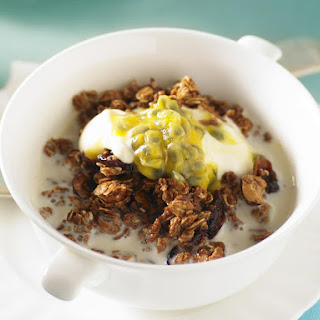 Granola with Cranberries, Hazelnuts, and Coconut.