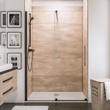Porte de douche coulissante en niche, roulettes en bas, style industriel, profilé noir